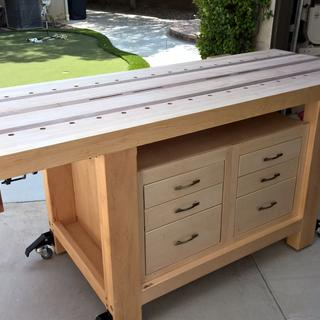Heavy Duty Lighted Workbench Wood Hardwood Top Box Storage