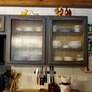 We Customized Our Cabinets With Rain Textured Glass. Love Them!