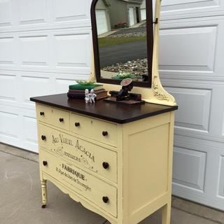 Antique Dresser In General Finishes Buttermilk Yellow And Java Gel Stain.
