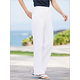 Look-of-Linen Flat Front-White Pull-on Pants