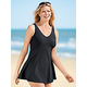 Black V-Neck Swim Dress