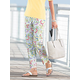 Floral-Print Sateen Ankle Pants