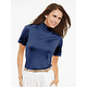 Short Sleeve Mock Neck Top in Lightweight Filament Silk