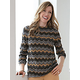 Long-Sleeve Cotton Pattern Crewneck Sweater