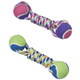 SPOT Rainbow Twister 2-Ball Dumbbell Rope Dog Toy