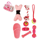 Pet Life 8-Piece Duffle Dog Toy Set Pink