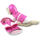 Pet Life Pink and White PVC Dog Raincoat MD