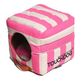 Touchdog Striped 2in1 Pink/White Dog House Bed