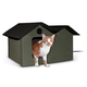 KH Mfg X-Wide Heated Olive Outdoor Kitty House