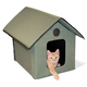 KH Mfg X-Wide Unheated Olive Outdoor Kitty House