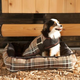 Kensington Deluxe Black Plaid Bolster Dog Bed XL