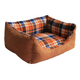 Pet Life Nano Silver Brown Plaid Dog Bed Medium