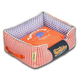 Touchdog Polka Striped Orange Square Dog Bed LG