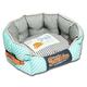Touchdog Polka Striped Blue/Gray Round Dog Bed LG