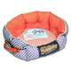 Touchdog Polka Striped Orange Bolster Dog Bed LG