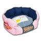 Touchdog Polka Striped Pink/Blue Round Dog Bed LG