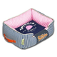 Touchdog Polka Striped Blue/Pink Square Dog Bed LG
