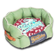 Touchdog Rabbit Spotted Green/Red Round Dog Bed LG