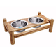 Luxe Craft Bamboo Finish Elevated Dog Diner 64oz