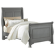 All-American New Orleans Twin Sleigh Bed in Zinc