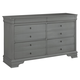 All-American New Orleans 6 Drawer Dresser in Zinc