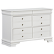 All-American New Orleans 6 Drawer Youth Dresser in Soft White
