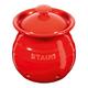Contenant pour l'ail et couvercle en céramique rouge par Staub