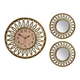 Ensemble de 3-pièces horloge et miroirs en or antique
