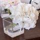 Hydrangée blanche avec vase carré par Gino Signature