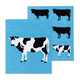 Ensemble de 2 lavettes suédoises réutilisables à motif de vache