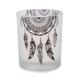 Bougie votive assortie en verre avec motif de plume