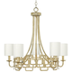 Hinkley Sabina 28 inch Wide Silver Leaf 5-Light Chandelier