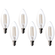 Bioluz 4.5 Watt LED Filament E12 Candelabra Bulb Pack of 6