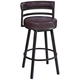 Madrid 26 1/2 inch Ford Brown Faux Leather Swivel Counter Stool