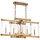 Halcyon 34 inch Wide Antiqued Gold Kitchen Island Light Pendant