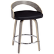 Gratto 24 inch Black Faux Leather Gray Wood Swivel Counter Stool