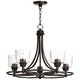 Whitfield 22 1/2 inch Wide Bronze and Clear Glass 5-Light Chandelier