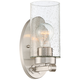 Holman 9 3/4 inch High Seedy Glass Brushed Nickel Wall Sconce