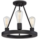 Lacey 13 inch Wide Black 3-Light Ceiling Light w/ LED Edison Bulbs