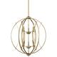 Possini Euro Spherical 24 inch Wide Antique Gold 6-Light Pendant