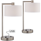 Colby Brushed Nickel USB and Outlet Desk Lamps - Set of 2