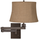 Natural Burlap Shade Bronze Plug-in Swing Arm Wall Lamp