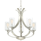 Kadence 23 inch Wide Brushed Nickel Clear Glass 5-Light Chandelier