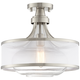 Possini Euro Layne 15 inch Wide Brushed Nickel Ceiling Light