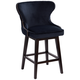 Ariana 25 1/2 inch Brass Trimmed Navy Blue  Swivel Counter Stool