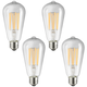 75W Equivalent Clear 8W LED Dimmable Edison Bulb 4-Pack