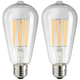 75W Equivalent Clear 8W LED Dimmable Edison Bulb 2-Pack