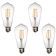 60W Equivalent Tesler Clear 7W LED Dimmable ST21Bulb 4-Pack
