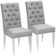 Leslie Silver-Gray Tufted Armless Dining Chairs Set of 2