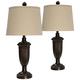 Madison Bronze Table Lamp with Beige Hardback Shade Set of 2